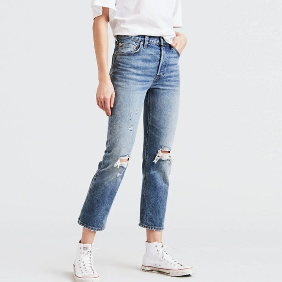 Levi's Denim - Levi's 501 Wedgie Cropped Selvedge Jeans Big E